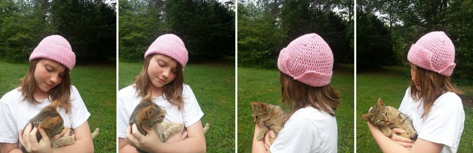 And here is Korina wearing her hat with the brim folded up. Twigs, the Stitch Geek kitten, is making an appearance in these pics as well. She is always one for attention and photobombing!