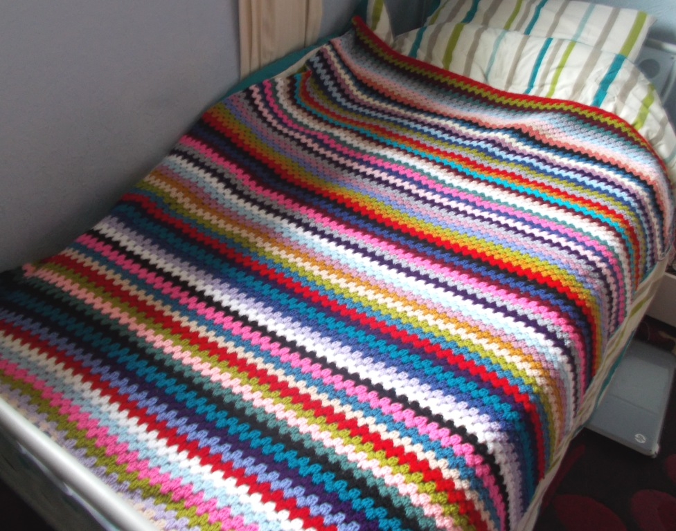 blanket on bed nearly done