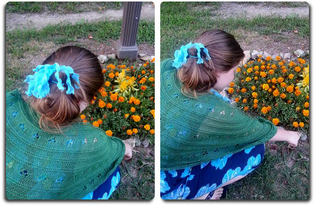 And of course, being a rustic style shawl.. you have to be able to wear it while working with your flowers! These are our marigolds, with something in the center that I can't remember the name of. We planted these at our mailbox and Korina sometimes helps me tend and water them.